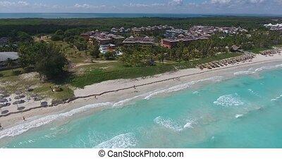 Beach From Sky Drone Flying Varadero Cuba Caribbean Sea