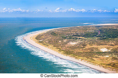 Beach from the air, Holland - Aerial view of sand dunes and...
