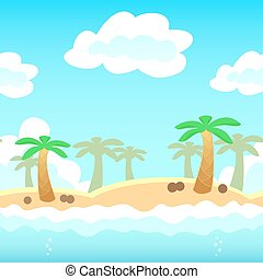 Beach background with palm, water and cloud. Vector illustration for holiday vocation design. Seamless tileable game background.