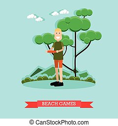 Beach games vector illustration in flat style