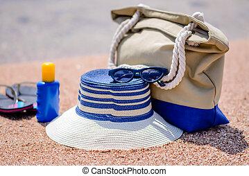 Beach gear on the sand overlooking the sea