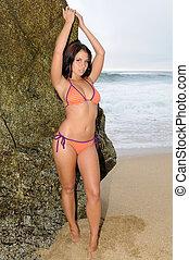Beach girl - Beautiful brunette at the beach, Gray Whale...
