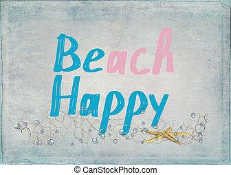 beach happy text with starfish