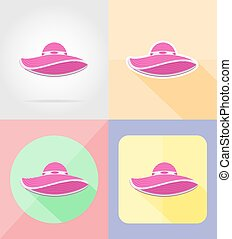 beach hat flat icons vector illustration