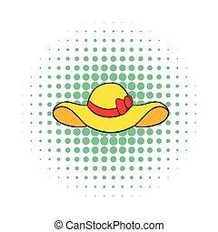 Beach hat icon, comics style - Beach hat icon in comics...