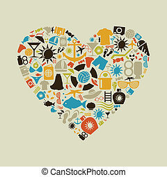 Beach heart - Heart made of beach subjects. A vector...