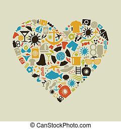 Beach heart - Heart made of beach subjects. A vector...