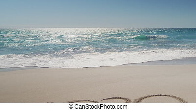 Beach holiday destination - 2020 written in the sand on a ...
