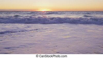 Beach holiday destination - Sandy beach and waves in calm ...
