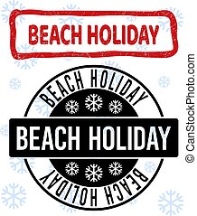 Beach Holiday Grunge and Clean Stamp Seals for New Year