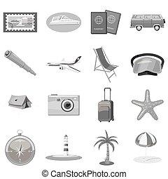 Beach holiday icons set, gray monochrome style