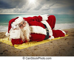 Beach holiday of Santa Claus - Santaclaus relaxing at the ...