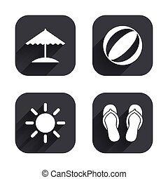 Beach holidays icons. Umbrella and sandals. - Beach holidays...