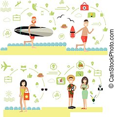 Beach holidays vector illustration in flat style
