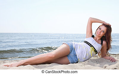Beach holidays woman enjoying summer sun sand looking happy