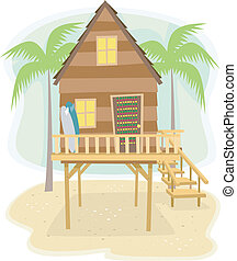 Beach House - Illustration of a Beach House with Surfboards...
