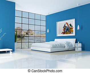 blue bedroom of a beach villa - rendering - the art picture on wall is a my rendering composition, background is a my photo