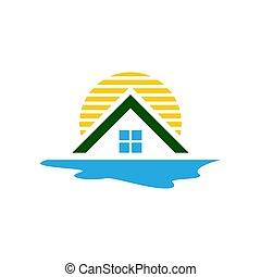 Beach house logo design vector with sun ocean and roof template illustration