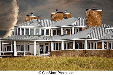 Beach House - Summer beach house with sunset sky.