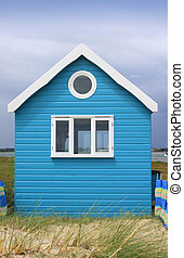 Beach Hut - A brightly painted blue wooden constructed beach...