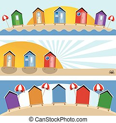 beach hut banners - Vector illustration of three different...