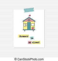 Beach hut inspirational card