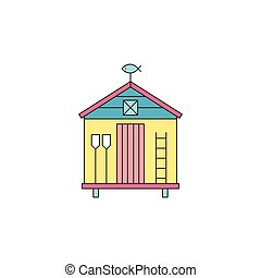 Beach hut line icon