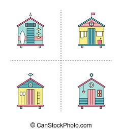 Beach hut line icons set