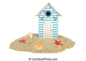 Beach hut with shells