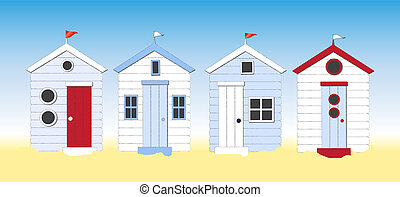 A row of beach huts against blue sky and sand