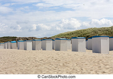 Beach huts along the North Sea in the Netherlands