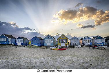 Beach huts at Hengistbury Head near Bournemouth in Dorset