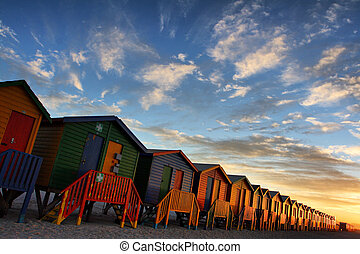 Beach huts at the town of Muizenberg near Cape Town South...