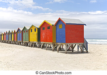 Row of painted beach huts in Cape Town, South Africa