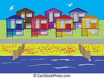 beach huts scene