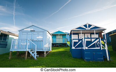 Colorful Beach huts at the seaside of Whitstable at Kent area in southeast England