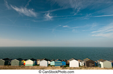 Colorfull Beach huts , at Whitstable, Kent South East England