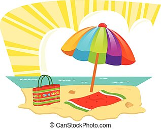 Beach Icon - A sandy beach with umbrella, towel and a tote...
