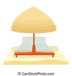 Beach icon, cartoon style
