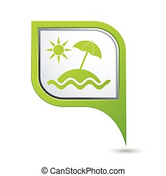 Beach icon on green map pointer