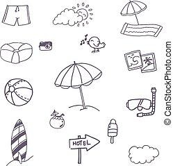 Beach icon set doodle vector