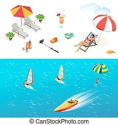 Beach icon set. Girl in a swimsuit on a deck chair, orange juice, sun umbrella, palm, sun glasses, photo, photo camera, sun hat, sun cream. Flat 3d vector isometric illustration.