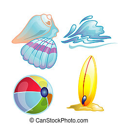 Beach icon set illustration