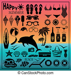 Beach icon set - Image of a set of icons for a beach theme...