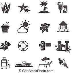 Beach Icons Black Set