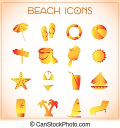 Beach icons - Vector illustration of different colorful...