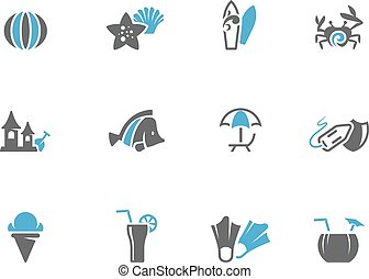 Beach icons in duo tone colors.