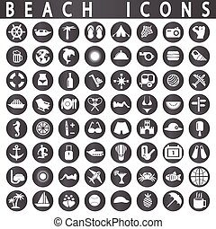 Beach Icons on a white background in circles