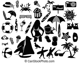 beach icons on white background