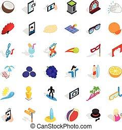 Beach icons set, isometric style